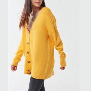 URBAN OUTFITTERS UO Jordan Oversized Plush Yellow Fall Cardigan